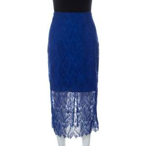 Diane von Furstenberg Klein Blue Leaf And Floral Macramé-Lace Pencil Skirt M