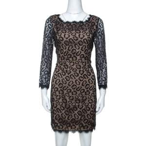 Diane von Furstenberg Black Lace Zarita Embellished Dress M
