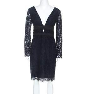 Diane Von Furstenberg Midnight Blue Lace Long Sleeve Viera Dress M