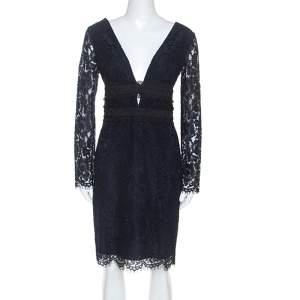 Diane Von Furstenberg Navy Blue Lace Viera Cocktail Dress M