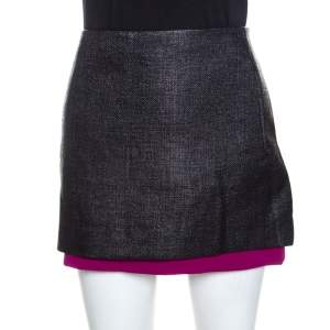 Diane Von Furstenberg Black Textured Contrast Hem Elley Mini Skirt M