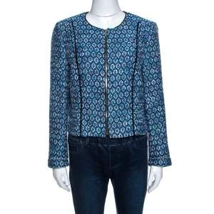 Diane Von Furstenberg Blue Lurex Jacquard Knit Rylan Jacket L