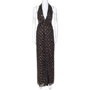 Diane Von Furstenberg Black Lurex Printed Silk Evelina Dress XS