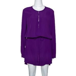 Diane Von Furstenberg Purple Crepe Pleat Front Sliced Dress M