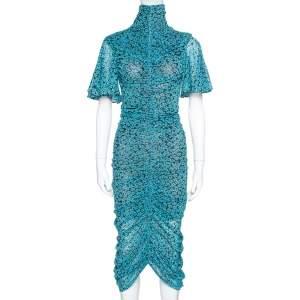 Diane Von Furstenberg Blue Ditsy Print Ruched Olivia Dress XS