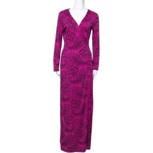 Diane Von Furstenberg Pink Silk Jersey New Julian Long Banded Wrap Dress M