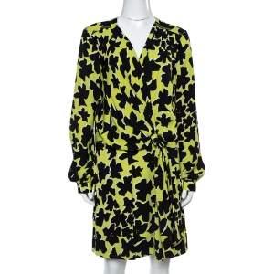 Diane Von Furstenberg Green/Black Silk Crepe Print Dora Lily Midi Dress L