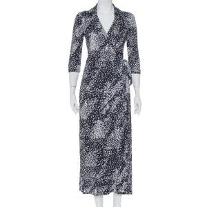 Diane Von Furstenberg Navy Blue Silk Knit Rain Abigail Maxi Wrap Dress S