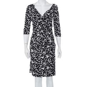 Diane Von Furstenberg  Monochrome Abstract Printed Knit Ruched Bentley Dress M