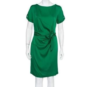 Diane Von Furstenberg Green Silk Satin Draped Faux Wrap Leron Dress L
