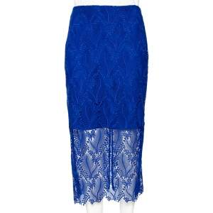 Diane von Furstenberg Klein Blue Leaf And Floral Macramé-Lace Pencil Skirt M