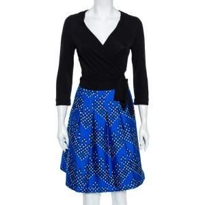 Diane von Furstenberg Multicolor Dotted Chevron Pattern Jewel Wrap Dress M