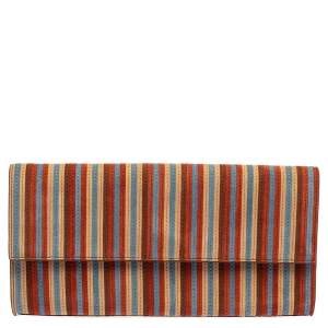 Diane Von Furstenberg Multicolor Suede Stripe East West Envelope Clutch
