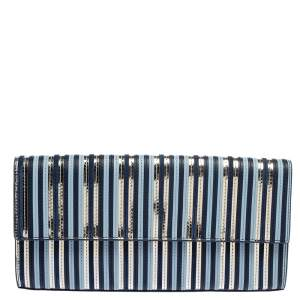 Diane Von Furstenberg Blue Leather Suede Stripe East West Envelope Clutch
