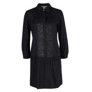 Diane Von Furstenberg Amy Lu Black Sequin Pintuck Detail Long Sleeve Dress M