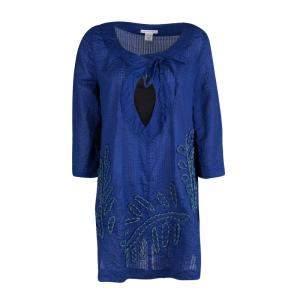 Diane Von Furstenberg Blue Seersucker Beaded Applique Detail Tunic M