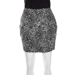 Diane Von Furstenberg Monochrome Printed Cotton Clyde Mini Skirt S