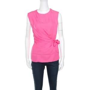Diane Von Furstenberg Pink Silk Draped Front Tie Detail Sleeveless Grandie Top S