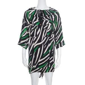 Diane Von Furstenberg Multicolor Striped Silk Tie Detail Kangou Tunic S