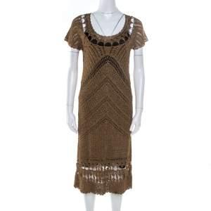 Diane Von Furstenberg Dull Gold Perforated Crochet Knit Kalakaua Dress L