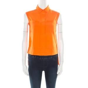 Diane Von Furstenberg Orange Silk Sleeveless High Low Lensley Shirt XS