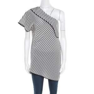 Diane Von Furstenberg Monochrome Alsen Stripe Silk One Shoulder Top L