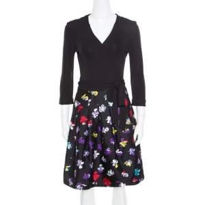 Diane Von Furstenberg Black Floral Printed Wool and Silk Jewel Wrap Dress M