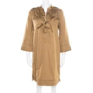 Diane von Furstenberg Camel Brown Cotton Neck Tie Detail Damani Dress M