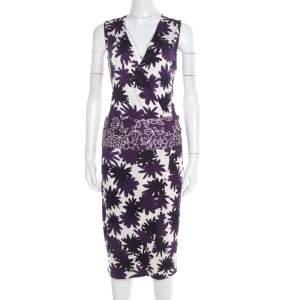 Diane Von Furstenberg Purple Asterisk Meadow Printed Silk Jersey Sirena Dress M