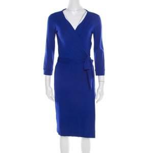 Diane von Furstenberg Cobalt Blue Jersey New Julian Wrap Dress M
