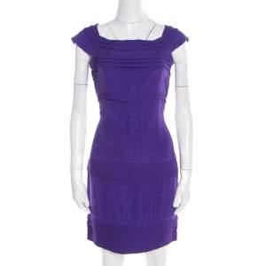 Diane von Furstenberg Purple Pleated Silk Square Neck Merle Dress S