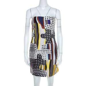 Diane Von Furstenberg Multicolor Optic Plaid Print Maria Strapless Mini Dress S
