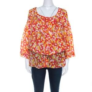 Diane Von Furstenberg x Andy Warhol Polka Dot Print Silk Blake Tunic Top L
