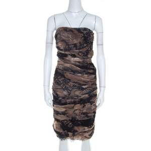Diane Von Furstenberg Brown Silk Chiffon Strapless Lele Dress S