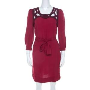 Diane von Furstenberg Burgundy Crepe Cut Out Neck Detail Belted Jadey Dress S