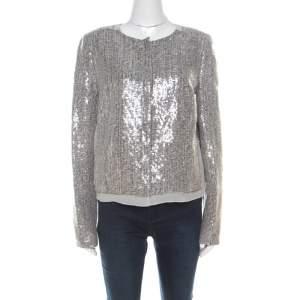 Diane von Furstenberg Silver Sequin Embellished Tweed Tamali Jacket L