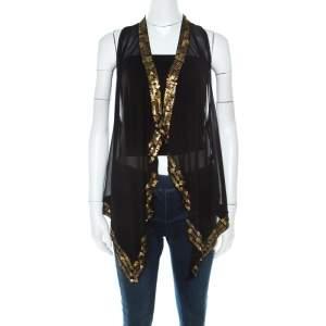 Diane Von Furstenberg Black Silk Chiffon Gold Sequin Embellished Ellowyn Sleeveless Vest M