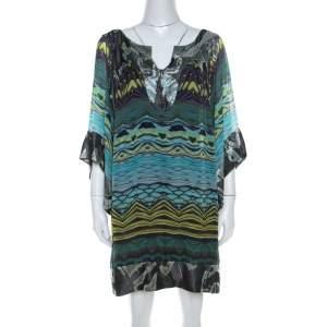 Diane Von Furstenberg Blue Deco Print Silk Tabalah Tunic Dress M
