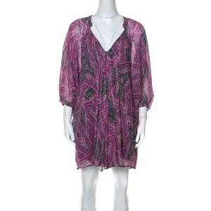 Diane Von Furstenberg Pink Printed  Silk Fleurette Short Dress XS