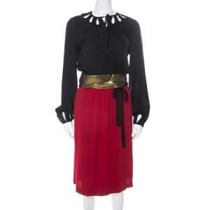 Diane Von Furstenberg Black and Red Silk Kiandra Wrap Dress M