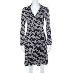 Diane Von Furstenburg Black & White Love Knot Print T72 Wrap Dress M