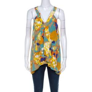 Diane von Furstenberg Multicolor Printed V-Neck Asymmetric Hem Sleeveless Top L