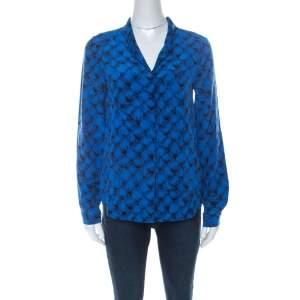Diane Von Furstenberg Blue Printed Shirt S