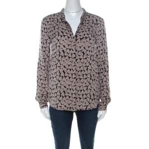 Diane Von Furstenberg Beige & Black Lorelel Print Silk Shirt S