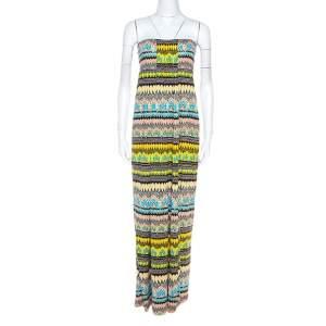 Diane Von Furstenberg Multicolor Printed Silk Strapless Maxi Farrin Dress XL
