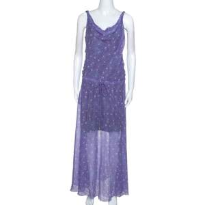 Diane Von Furstenberg Purple Printed Chiffon Tadd Maxi Dress M