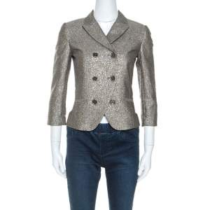 Diane Von Furstenberg Metallic Wool Little M Tweed Blazer XS