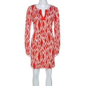 Diane Von Furstenberg Coral Red Ikat Print Silk Reina Long Sleeve Dress L
