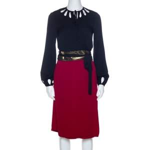 Diane Von Furstenberg Black and Red Silk Kiandra Wrap Dress M