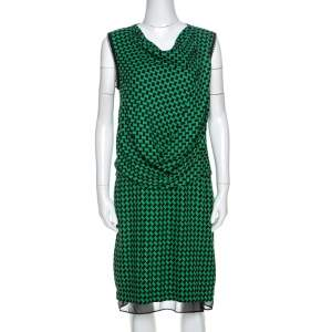 Diane Von Furstenberg Bicolor Patterned And Draped Leala Tweed Dress M